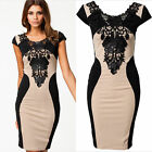 Womens Sexy Lace Short Sleeve Slim Trendy Bodycon Party Cocktail Evening Dress