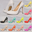 Womens Ladies Patent Asakuchi Leather Court Stiletto High Heels Round Toe Shoes