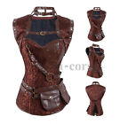 Retro Goth Brown Canvas Steampunk Corset with Removeable Jacket and Belt
