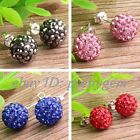 FASHION STYLE 10MM SPARKLE SWAROVSKI CRYSTAL BALL&SILVER PLATED STUD EARRINGS