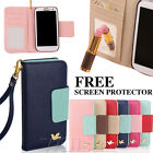 LEATHER MIRROR POUCH WALLET CARD FLIP CASE COVER FOR SAMSUNG GALAXY S3 S4 + FILM