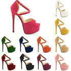 HOT NEW PEEP TOE STRAPPY PLATFORM FAUX SUEDE HIGH HEELS SANDAL SHOES SIZE 2-9