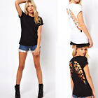 Women Crew Neck Angel Wings Hollow Back Short Sleeve Casual T-Shirt Blouse Tops