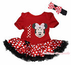 Pink Minnie Red White Dot 1ST Birthday Red Bodysuit Skirt Girl Baby Dress NB-18M