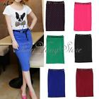 Women Ladies High Waist Belted Pencil Skirt Stretch Bodycon Knee Length Skirt