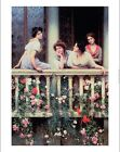 "EUGENE DE BLAAS ""Balcony"" WOMEN print ON CANVAS choose SIZE, from 55cm up, NEW"