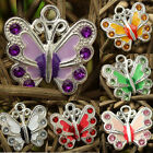 20/50pcs Multicoloured Enamel Animal Butterfly Pendant Charms U Pink Colors