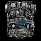 MOONSHINERS MOONSHINE MIDNIGHT RUNNER OLD TRUCK 190 PROOF  CHEST LOGO T SHIRT