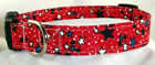 Patriotic 4th July Stars red blue BUCKLE dog collar with leash set option