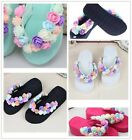 Womens DIY Flowers Sandals Platform Flip Flops Slippers Casual Beach Shoes - Z