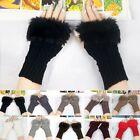 Ladies Women Knitted Fingerless Winter Warm Hand Warmer Faux Rabbit Fur Gloves