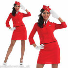 Ladies Air Hostess Cabin Crew RED Hen Night Fancy Dress Costume - Sizes 6 - 26