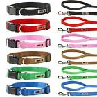 Adjustable Soft Nylon Fabric Dog Puppy Collar and 1.2m Lead Set with Buckle Clip