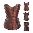 Goth Coffee Brown Steampunk Corset with Chains Sexy Prom Party Clubwear S-2XL