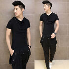 Men's Heaps Collar Sexy T-Shirts Casual Slim Short Sleeve Shirts Tee Top Buttons