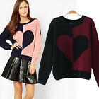 Color Block Big Heart Pullover Women's Clothing Sweater Jumper Knitwear Top New