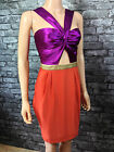 a17* love label WOMANS SLEEVELESS ORANGE & PURPLE PARTY DRESS SIZE 12 14 16 18