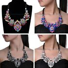 Fashion Multi-color Resin Crystal Black Rope Choker Cluster Statement Necklace