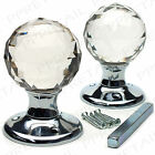 2x★REAL GLASS★ROUND BALL MORTICE KNOBS Crystal Door Internal Latch Handle Set