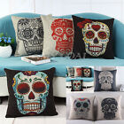 Skull Vintage Linen Cotton Throw Pillow Case Sofa Bed Home Decor Cushion Cover