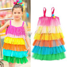 New Girls Kids Rainbow Ruffle Layered Tulle Veil Dress Tutu Clothing Dress 4-8Y