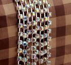 1Meter Silver Gold Plated Trim Clear AB Rhinestone Crystal Chain, Dia 4mm