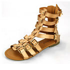 Womens Gladiator Sandals Strappy Over The Ankle Flats Roman Shoes Zippered Heel
