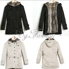 Men's Thicken Fleece Faux Fur Warm Winter Coat Hood Parka Overcoat Long Jacket