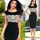 Ladies Sexy Floral Lace Contrast Blubwear Evening Party Bodycon Mini Dress  4-16
