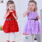 Sweet Red Baby Girls Kids Rose Flower Bowknot Party Dress Outfit 5 Sizes B20E