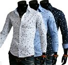 Fashion Men Luxury Casual Shirt Star Print Clothing Dress Shirts Long Sleeve Top