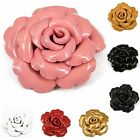 """Handmade"" Leather Flower Brooch Pin Rose 3.5 in Choose Color aab3"