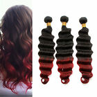 6A Ombre Brazilian Human Hair two tone human hair weave Deep Wave 1B/BURG# Hot