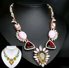 vintage antique styl jewellery gold gp rhinestone pink yellow green bib necklace