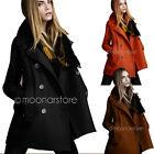 Fashion Women's Double-breasted Long Sleeve Winter Woolen Jacket Coats Overcoat