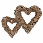 MIXED RATTAN HEART SHAPED WREATH - DOOR WALL HANGING COUNTRY DECORATION