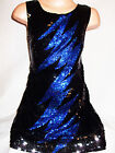 GIRLS 60s STYLE BLACK SEQUIN BLUE LIGHTNING EVENING DISCO PARTY DRESS