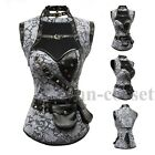 Steampunk Lace up Boned Corset Gray Leather Gothic Halloween Top with Jacket