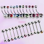 Women Stylish Navel Stud Barbell Double Rhinestone Women Belly Bar Button Ring