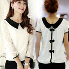 Vintage Women Ladies Peter Pan Collar Bow Back Top Blouse Lace Chiffon Shirt