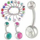 2Pcs Crystal belly rings steel navel bar button jewellery 9CPB-SELECT COLOR&SIZE