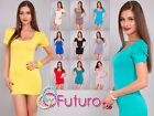 ☼ Women's Mini Dress Puffed Sleeves ☼ Square Neck Tunic Bodycon Size 8-12 0186