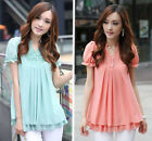 Korean Summer Fashion Blouse Women Short Sleeve V Neck Loose Chiffon Shirt Tops