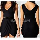 Womens Sexy V Neck Wrap Over Tulip Shape Bodycon Party Nightclub Mini Dress