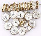 50pcs Crystal Rhinestone Spacer Beads for Jewelry Making 10mm,Champagne Color