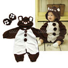Brown Bear Baby Costume Snowsuit for Kid Child Toddler Warm Fleece Bodysuit