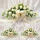 WEDDING FLOWERS CAR SHELF ARRANGEMENT SILK ROSEBUDS WHITE OR IVORY OR MIX