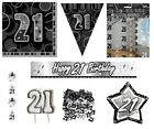 21st Birthday/Age 21 - BLACK/SILVER Party Items, Decorations, Tableware