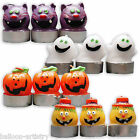 "3 Haunted Halloween Cat Pumpkin Monster 2.5"" Candles Party Decorations"