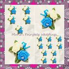 WEDDING FLOWERS BUTTONHOLE DOUBLE SILK FOAM ROSES TURQUOISE -WITH OR WITHOUT BOW